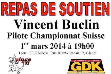 Repas de soutien pour Vincent Buclin - 01 mars 2014 » AcidMoto.ch, le site suisse de l ...