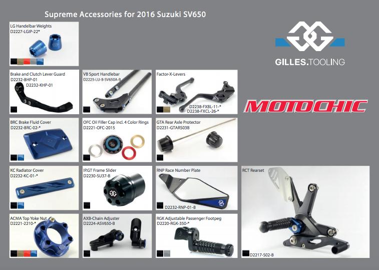 une ligne compl te d 39 accessoires gilles tooling pour la suzuki sv650 2016 le site. Black Bedroom Furniture Sets. Home Design Ideas