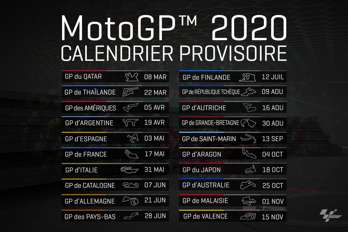 Calendrier Magny Cours 2020.Motogp 2020 Le Calendrier A Ete Publie Et Comporte