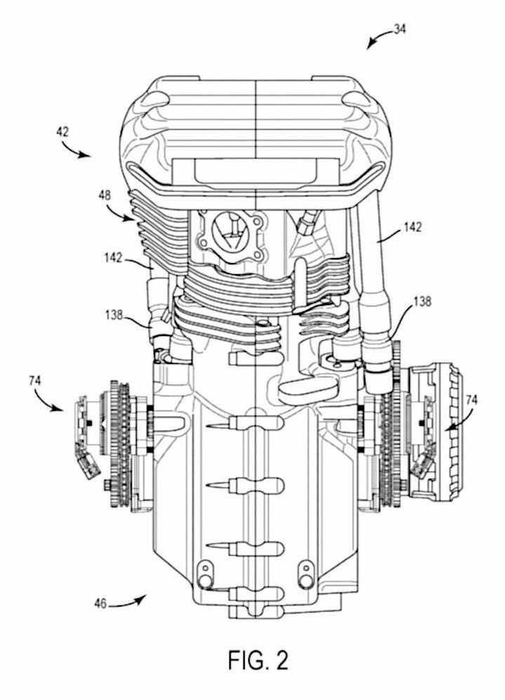 Calage variable et balancier d'équilibrage pour Harley-Davidson Harley-davidson-engine-balancer-patent-fig2_0