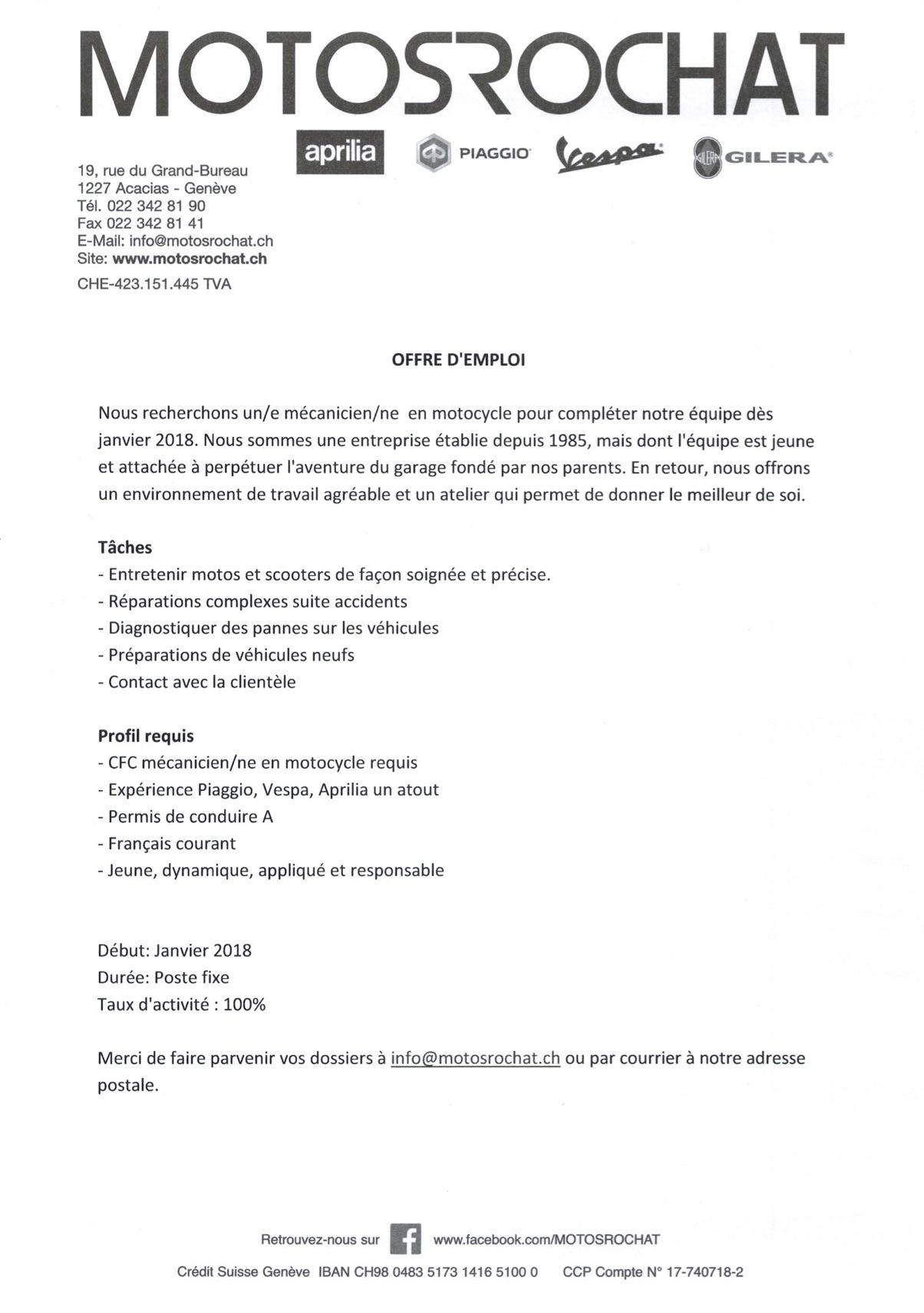 offre d 39 emploi motosrochat gen ve recherche un m canicien le site suisse de l