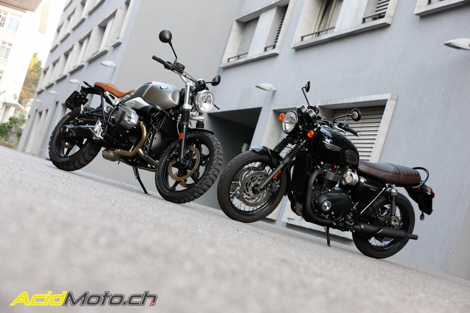 Comparatif BMW R NineT Scrambler / Triumph Bonneville T120 Black