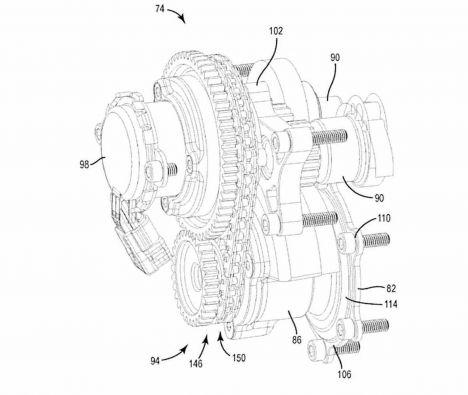 Calage variable et balancier d'équilibrage pour Harley-Davidson Harley-davidson-engine-balancer-patent-fig12_0
