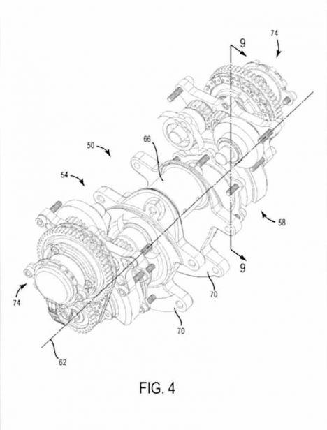 Calage variable et balancier d'équilibrage pour Harley-Davidson Harley-davidson-engine-balancer-patent-fig4_0