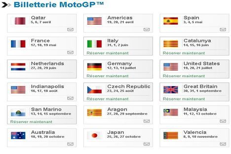 Calendrier Moto Gp 2021 A Imprimer La billeterie en ligne pour la saison 2013 de MotoGP est ouverte